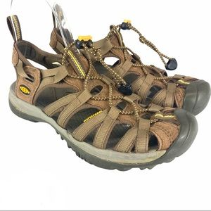 Keen Whisper walking sandals - coffee & yellow